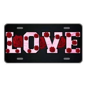Custom license plate Love in pink with roses
